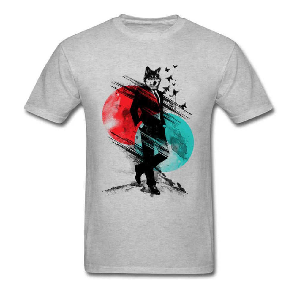 2018 legal do homem lobo camiseta Tinta Pintura Verão elegante Grey T-shirt de manga curta Algodão Men
