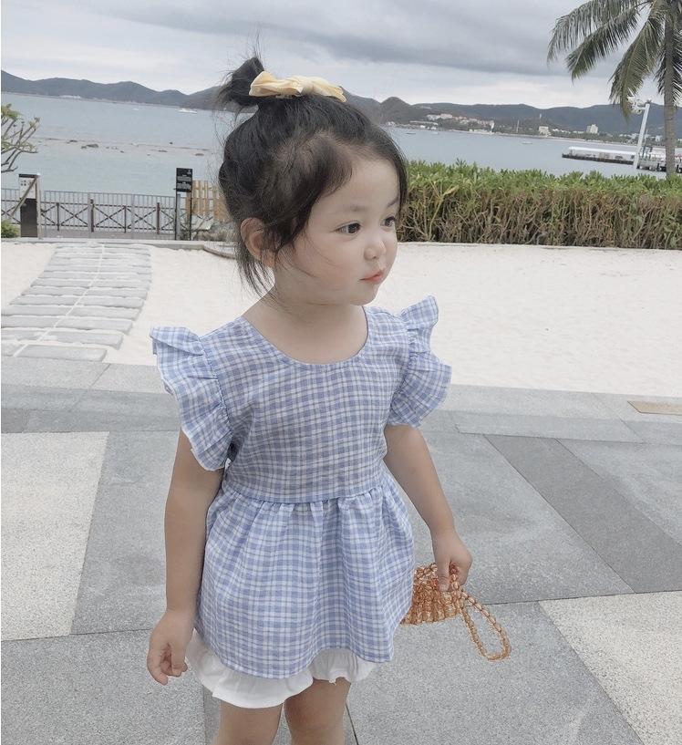 Ragazze 2020 di estate nuove ragazze coreane di stile volanti camicia a quadri manica ins camicia del bambino