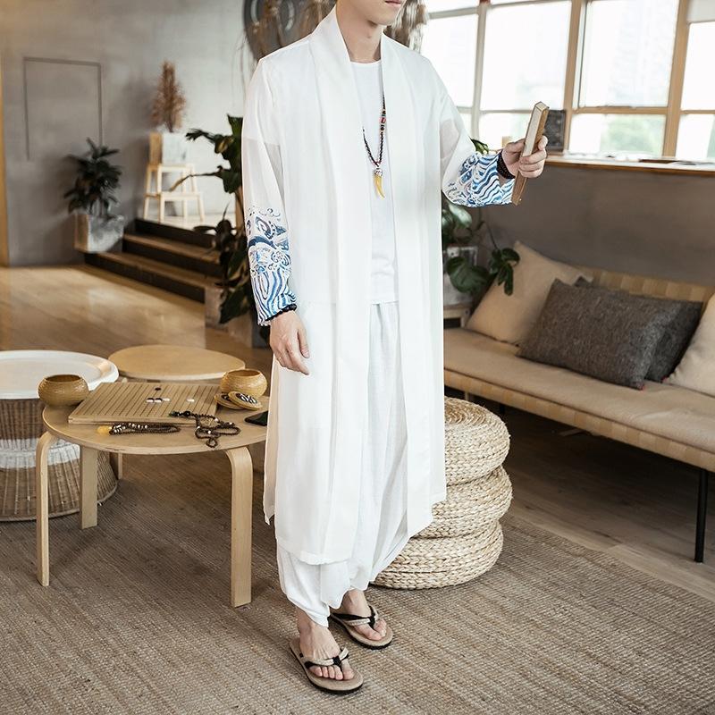 dukrA пальто 2020 весной новый китайский стиль мужского шифона траншеи случайных платьев, мужская волна печать ветровка пальто солнцезащитного крема bKsXf