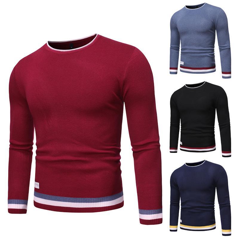 Homens 2020 Casual Primavera malha 100% algodão listrado Brasão camisolas pulôver homens Autumn New Fashion O-Neck Sweater 3XL