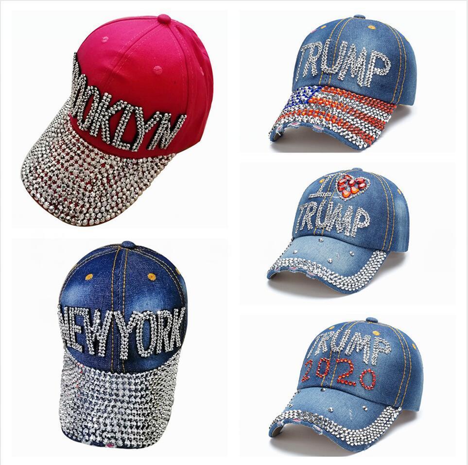 Trump Berretto da baseball USA Hat 2020 Presidente Elezione Cowboy diamante Cap regolabile Snapback Unisex Denim Diamante American Flag Cappello LJJP392