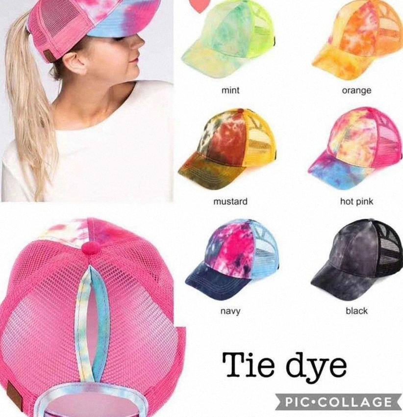 Cola de caballo gorra de béisbol mujeres lavaban Snapback Verano corriente del sombrero del lazo cápsula de la manera Tinte colorido del partido al aire libre Sombreros KKA7970 QFec #