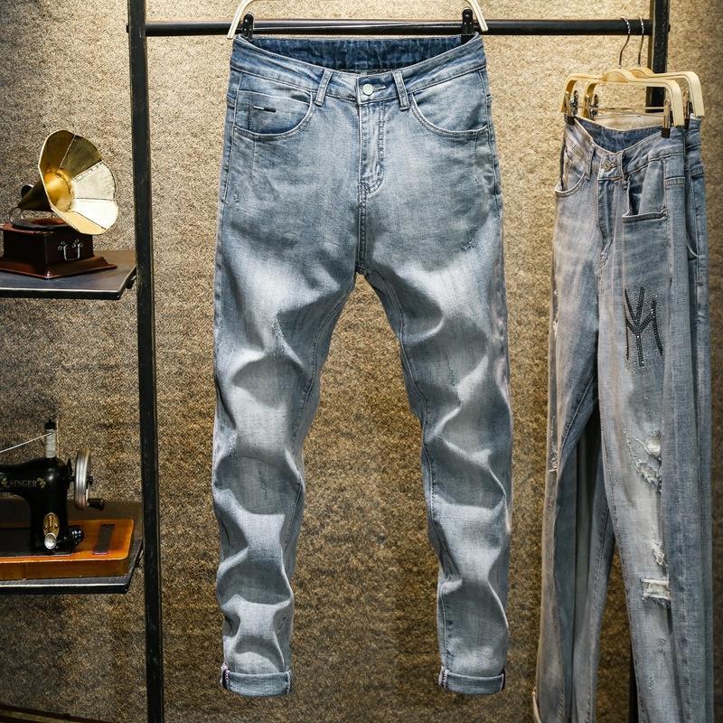 R7GBY 2020 início da primavera e calças nova qualidade estilo coreano luz branca Harlan calças jeans simples masculinas All-jogo