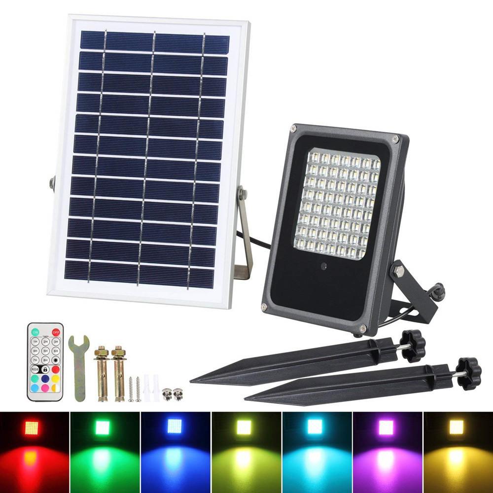 10W 50W LED الشمسية ضوء الفيضانات RGB تغيير لون الأمن في الهواء الطلق الجدار مصباح للماء أضواء الشمسية التحكم عن بعد لحديقة فناء