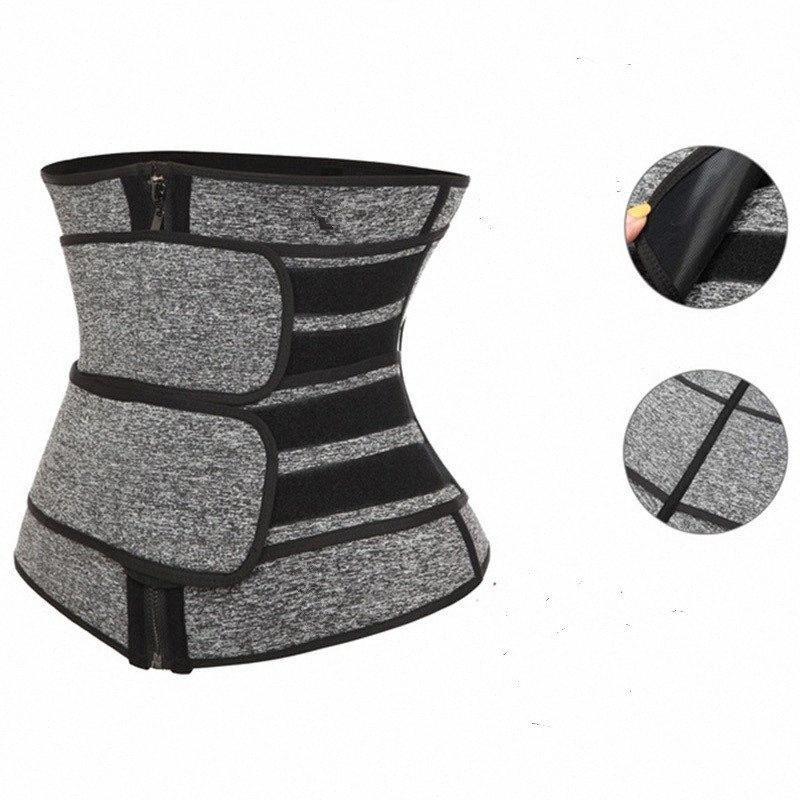 Dropshipping Duplo compressão Correia E Zipper Mulheres Workout Emagrecimento cintura instrutor Ey2x #