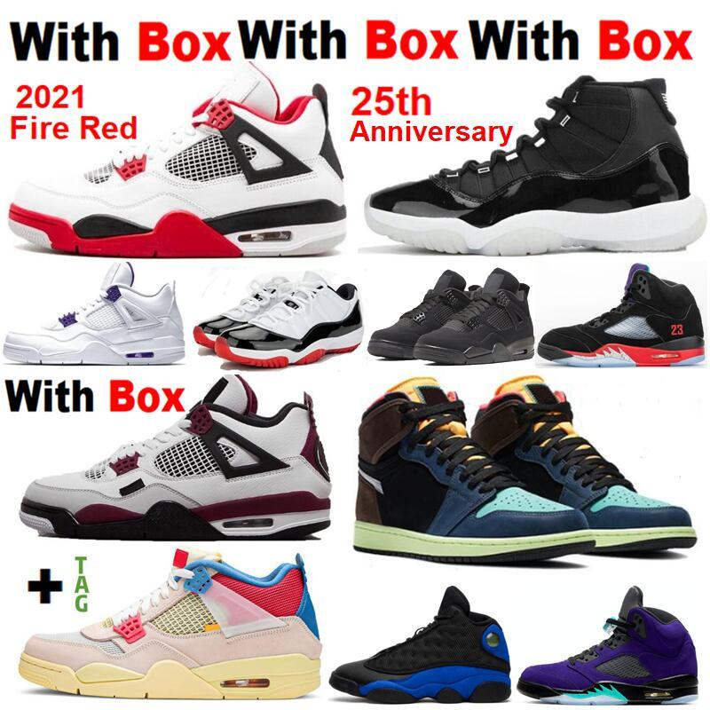 Bio Hack 1s 4 Fire Red 4s With Box 11 25th Anniversary 5 What The 4 11s Bred Court Purple White Basketball shoes Sneakers Men Chicago Toe