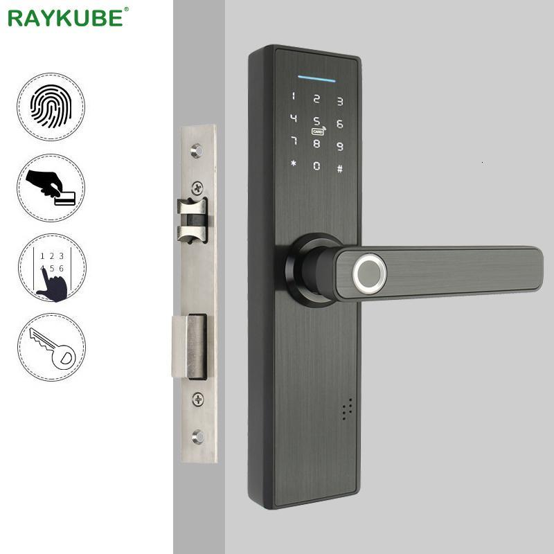cgjxsRaykube Biomet Fingerprint Türschloss Smart Card / Digital-Code / Keyless elektronische Sperre Home Office Sicherheit Einsteckschloss R -Fg5 T191029