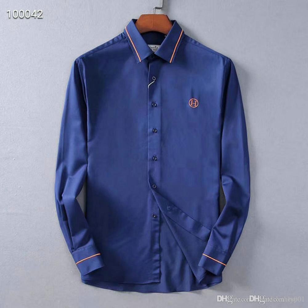 Para hombre de la marca de diseño de manga larga camisas de vestir firmate camisas de la manera ocasional de la camisa de lujo camisa de la impresión Homme Botón encima de las tapas 042