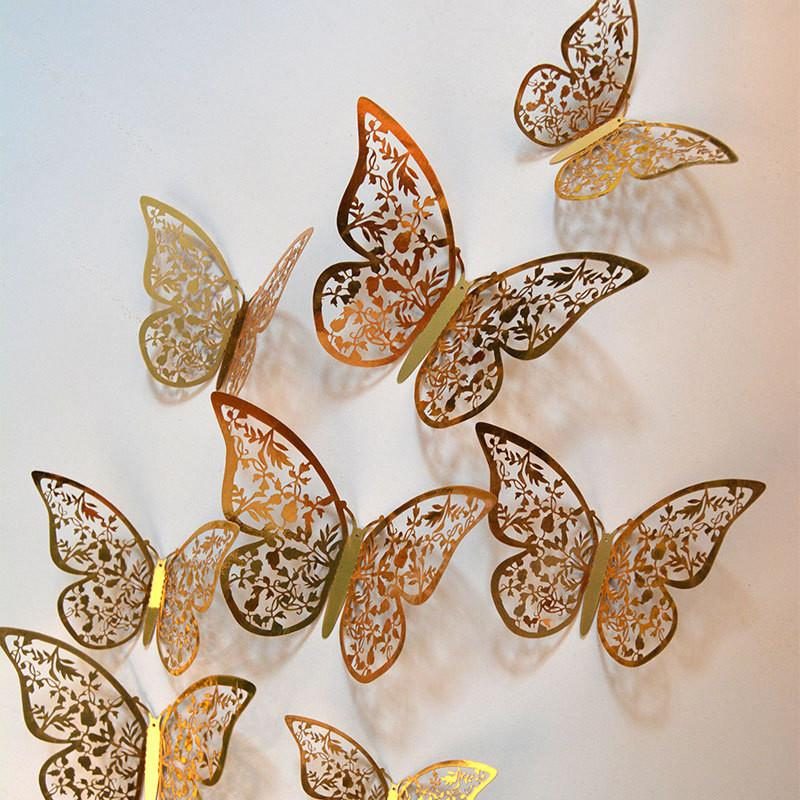 3D Rose Metal Effect Hollow Butterfly Wall Sticker Living Room Bedroom Wall Sticker TV Background Decoration