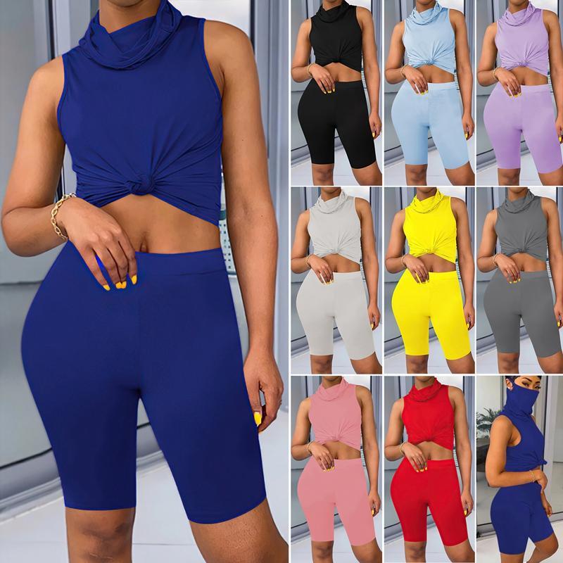 Two Piece Set Scarf Collar Sleeveless T Shirt Crop Shorts Women Tracksuit