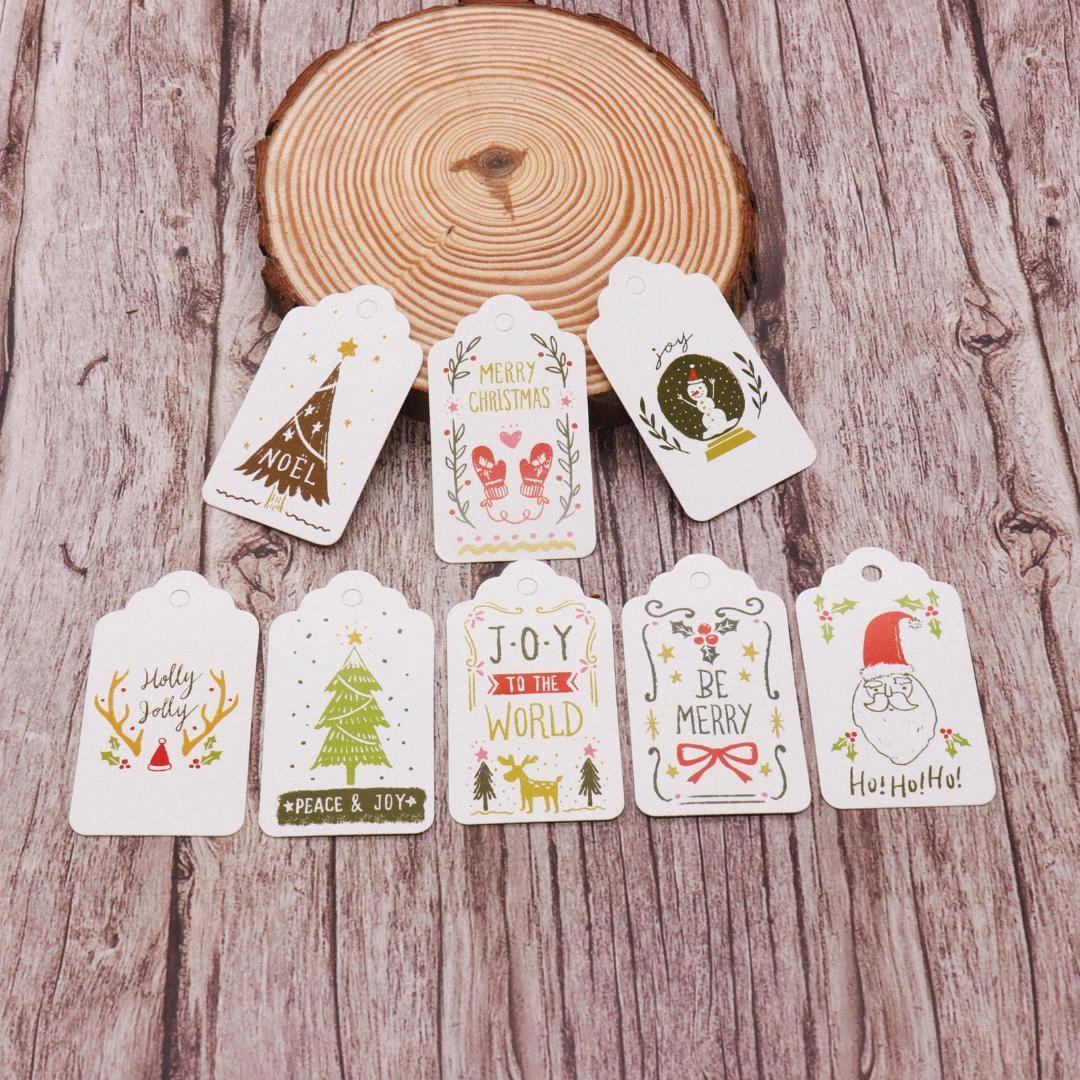 50pcs / lot multi Estilo Natal DIY Unique Gift Tag de papel cartão pequenos Opcional Cadeia DIY Craft Pendure tag etiqueta Party Decor ULuq #