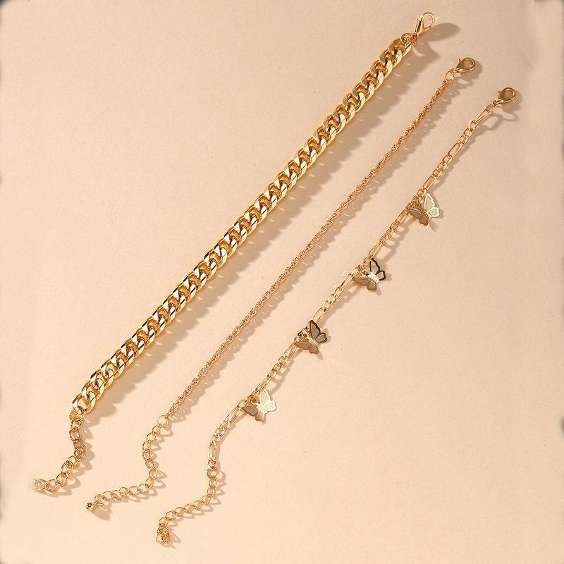 H 51366 europee e americane di New farfalla catena multi-layer cavigliera creativo dorato semplice Bracelet Set 3 pezzi MOQ1