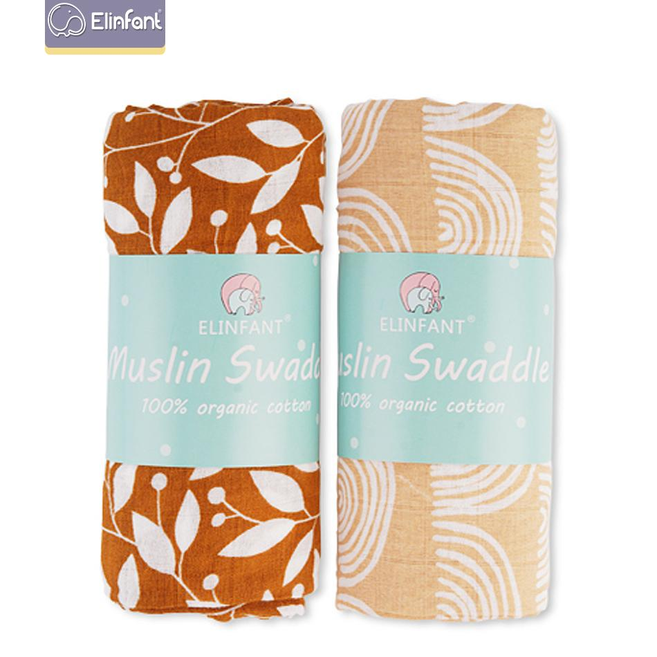 Elinfant 2pcs Muslin Cotton Swaddles washable baby blankets For Newborn Baby Blankets Black & White Gauze Bath Towel 200922