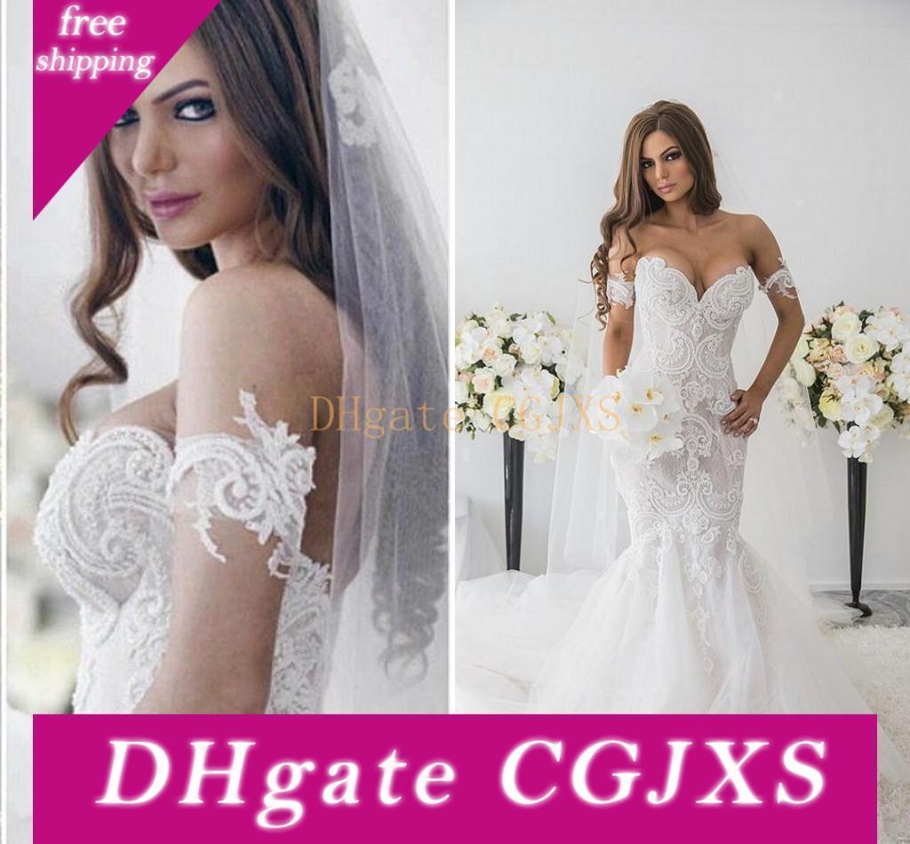 Retro Spitze weg von der Schulter Brautkleider Sexy Schatz-Nixe Tulle Brautkleider bodenlangen Backless Hochzeit Vestidos Robe De Mariee