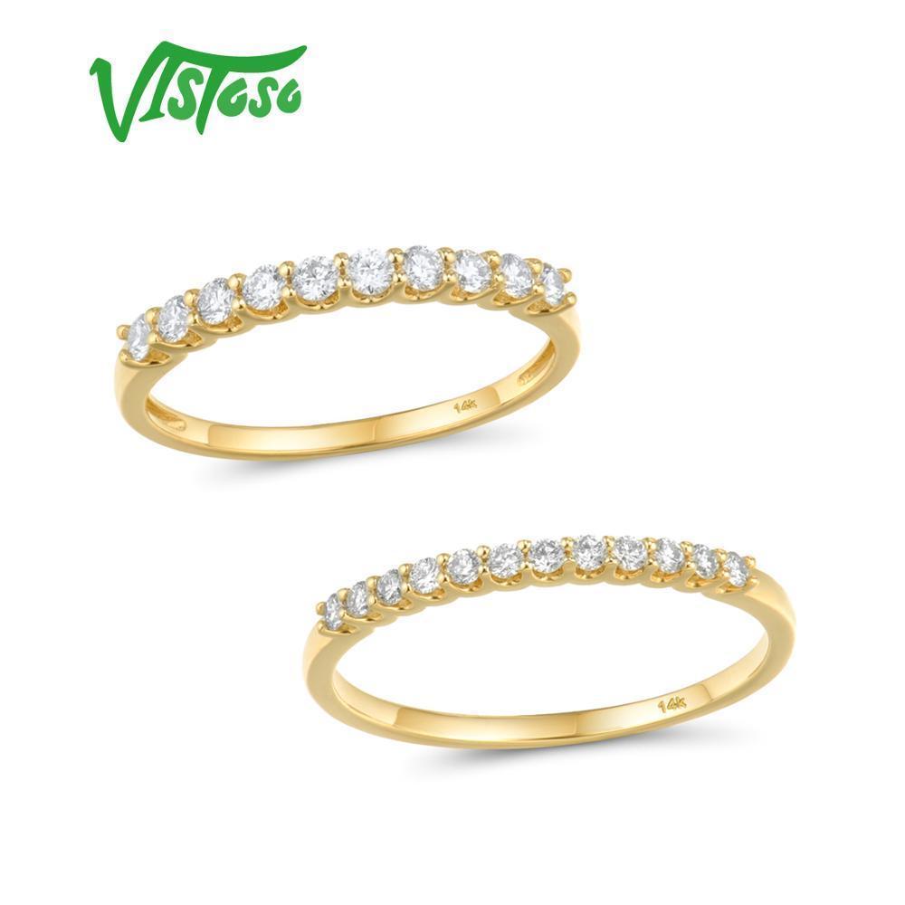 Vistoso anel de ouro para as mulheres Genuine 14K 585 Amarelo Anel de Ouro Sparkling Promise anéis de noivado Aniversário Belas T200905 Jóias