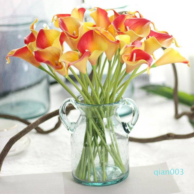 PU Fiore artificiale reale Touch Mini Calla Lily Flowers Hotel Calla Lily decorativo Bouquet per Wedding le decorazioni 13 colori LQPYW1069