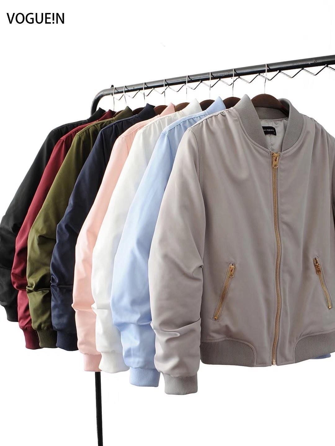 VOGUE! N nouvelles femmes poches solide 8 couleurs d'or Zip Up Satin Bomber Flight Jacket Coat CX200811