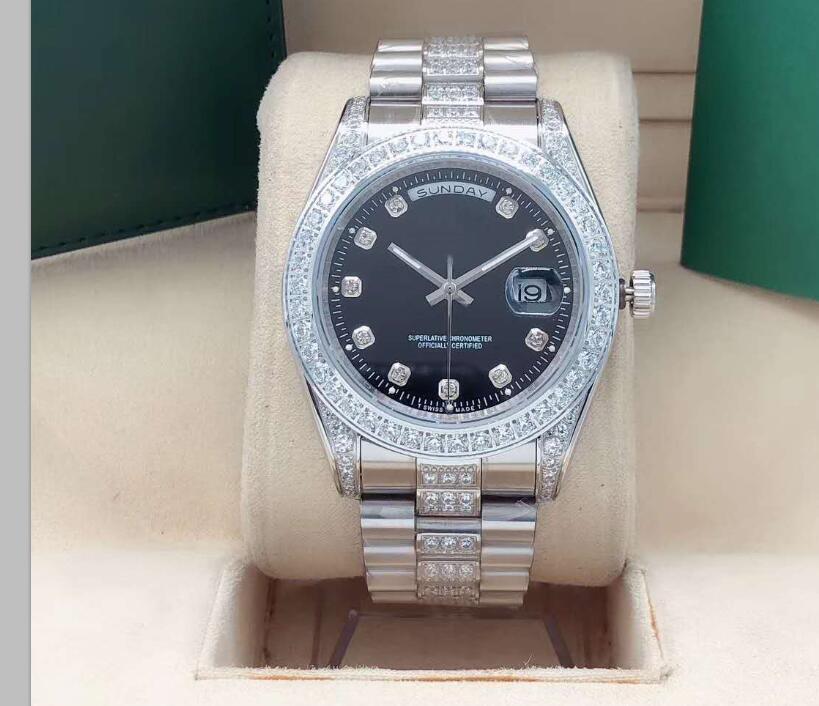 Nuovo Qualità DayDate mens meccanico in acciaio 316L 41 millimetri Movimento automatico di lusso di diamanti orologi da polso silver02