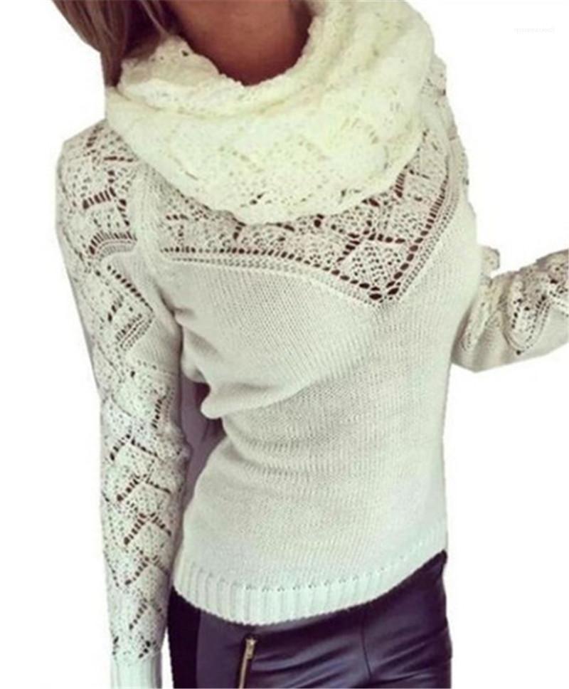 Sexy Ladies maglioni di modo solido collare di colore femminile abbigliamento invernale delle donne eleganti maglioni sciarpa manica lunga Pullover