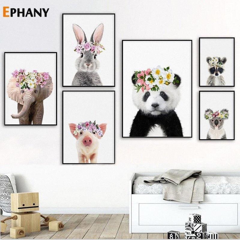 Kreş Wall Art Dekoratif Resim Nordic Çocuk Odası Dekorasyon nItk # Boyama Kawaii Hayvan Panda Tavşan Posterler ve Baskılar Tuval