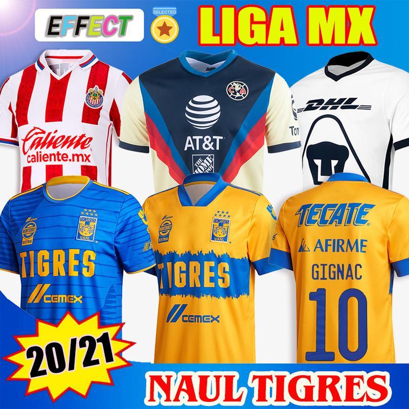 2020 2021 NAUL TIGRES قمصان كرة القدم 20/21 Chivas de Guadalajara Cruz Azul Xolos Club Tijuana Camiseta de Futbol UNAM أطقم قمصان كرة القدم