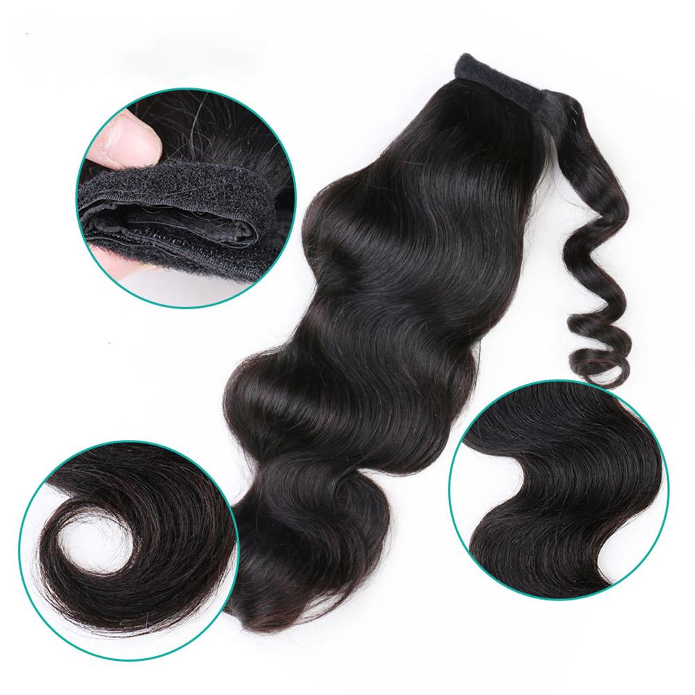 Body Wave 100% Human Hair Ponytail Human Hair Extensions Brazilian Clip In Horsetail Wig Natural Body Wave Hair Extension 100g