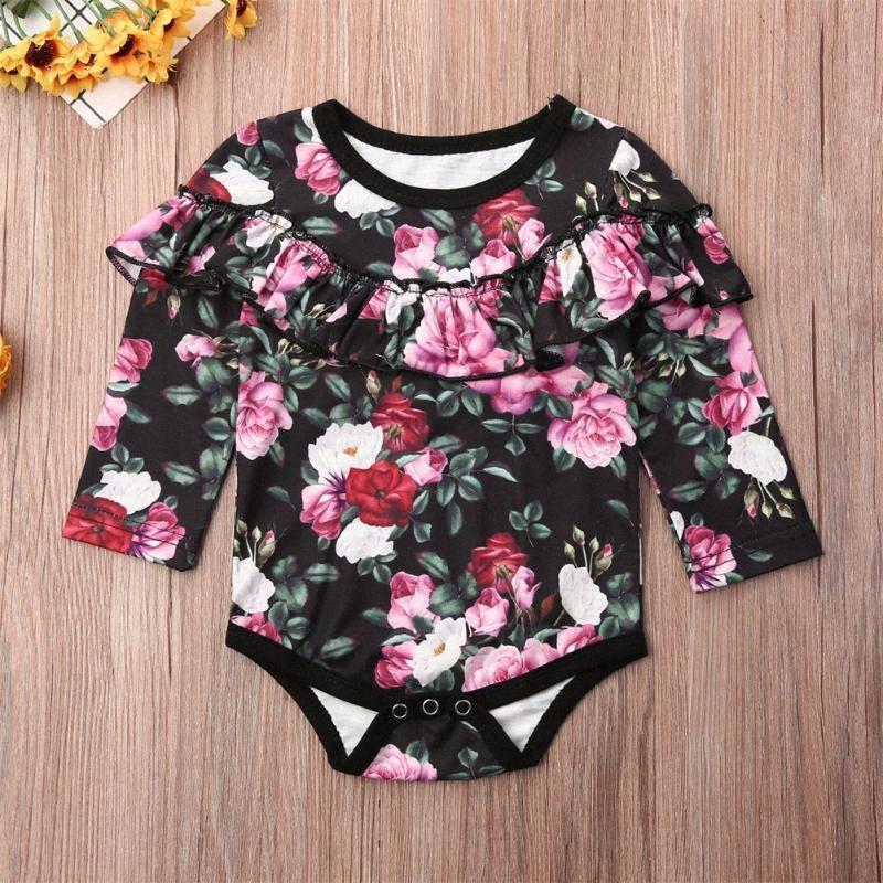 Lindo Bebé recién nacido que gira el collar abajo de la manga de los floristas Rose Mono Mono Mono corto trajes de la ropa del verano 0-24 M vekC #