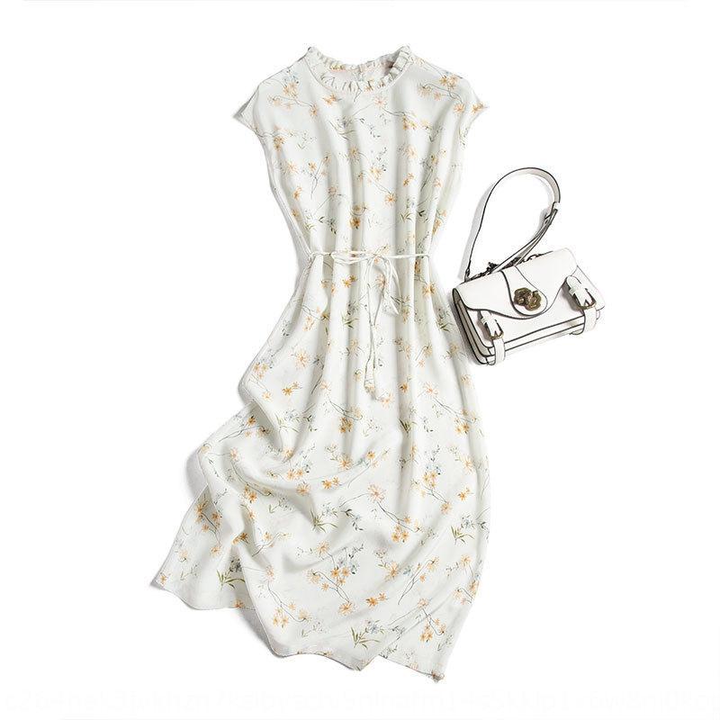 Künstlerische Mädchenkleid Herz Berry gedruckt Gürtel Französisch flounced Schlankheits Maulbeereseide Kleid A0330 jPJZj