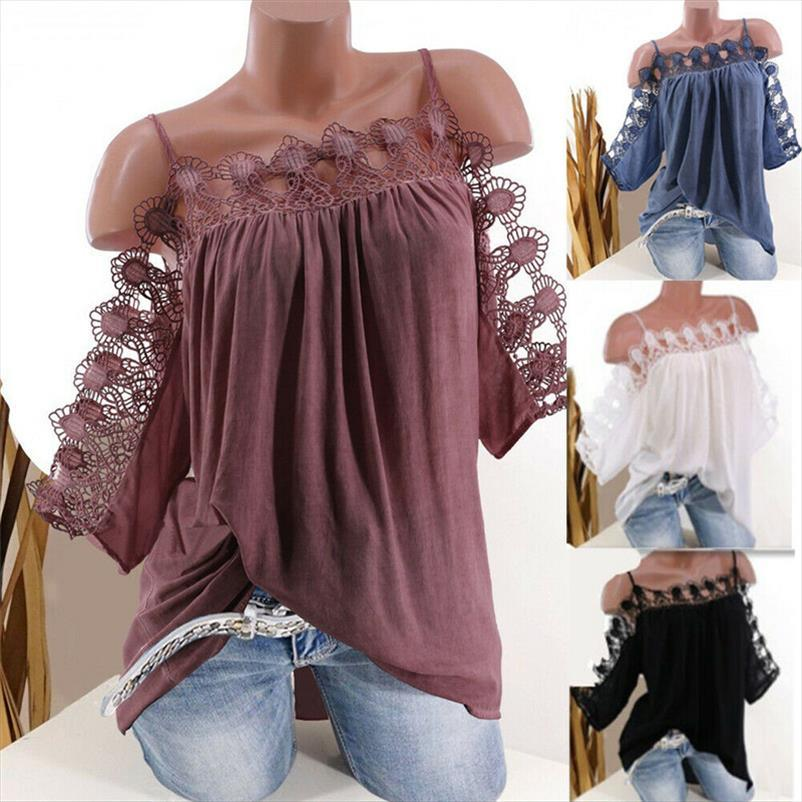 Womens Lace Cold Shoulder T Shirt Loose Casual Tunic Tops Solid Blouse Plus Size Strappy Short Sleeve Off Shoulder Tops