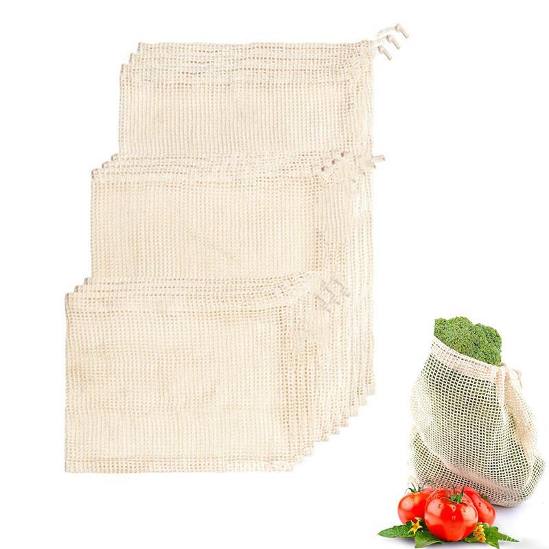 Dégradable pour les outils de coton en coton réutilisables Bio 5pcs / 10pcs Légumes écologiques Légumes Sacs de sacs à fruits Home Cuisine Mesh Stockage BNTCS
