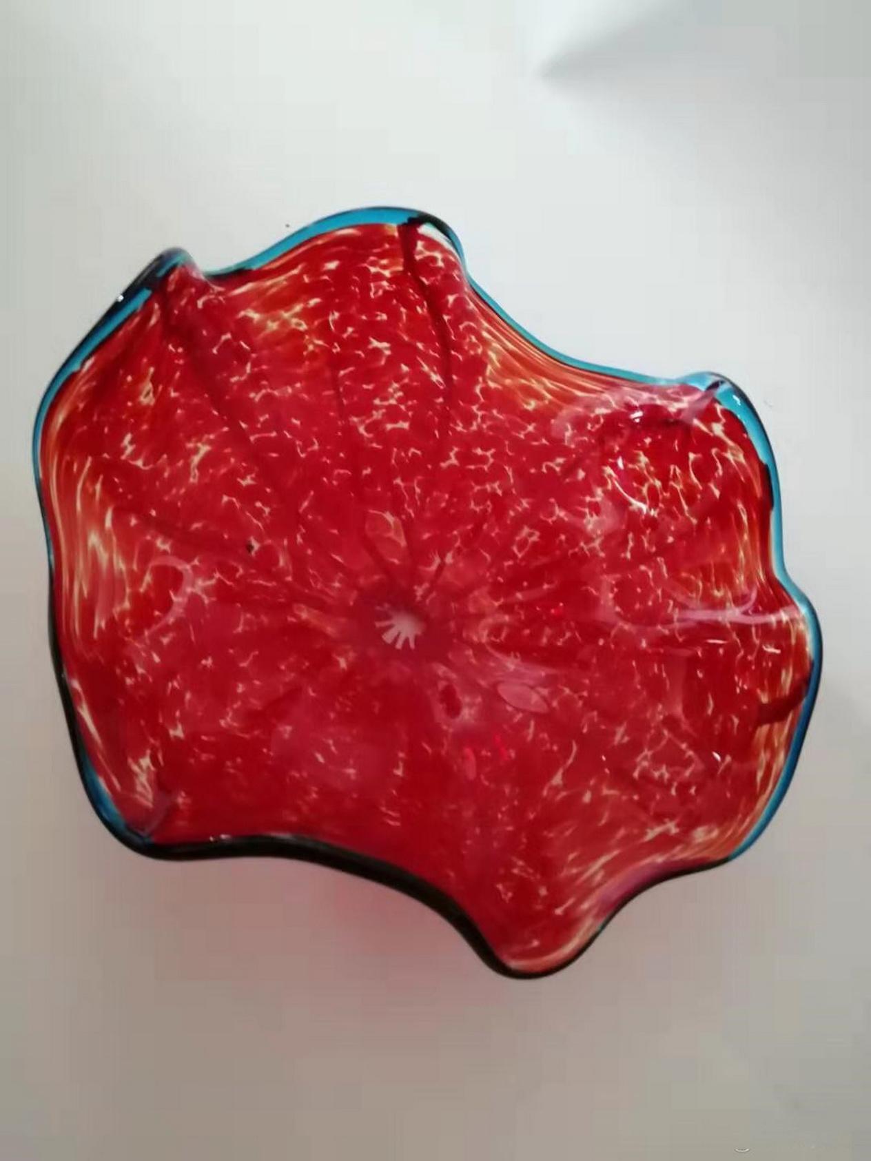 Artísticas brillantes placas rojo de la flor de loto Chihuly estilo 100% soplado Placas de pared de cristal de borosilicato