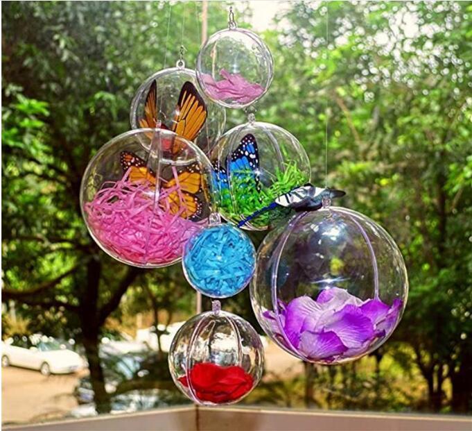4 centimetri 5 centimetri 6 centimetri 7 centimetri otto centimetri 9 centimetri 10cm Fillable palla ornamento Baubles Creativo Decorazione albero di Natale Palla ornamenti di plastica