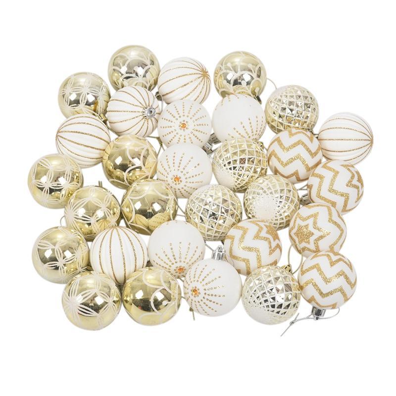JEYL 30Pcs Рождество Декор Дерева высокого Qulity белого золото шарик Украшение безделушка партия Висячий Мяч для дома рождественских украшений