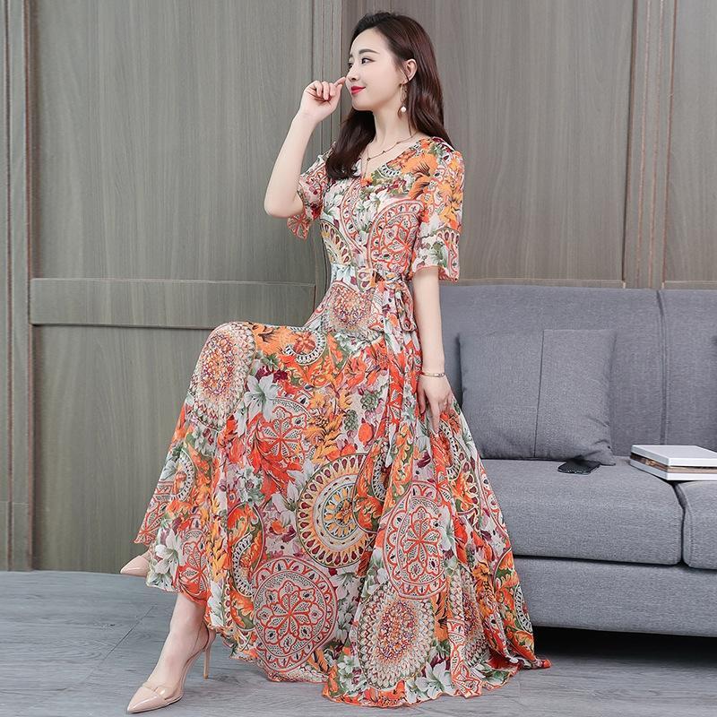 stile moda DkT9B yYoGf primavera e l'estate nuova stampati di grandi dimensioni allentato di lunghezza media delle donne Vestito corto coreano lungo manica corta gonna ampia