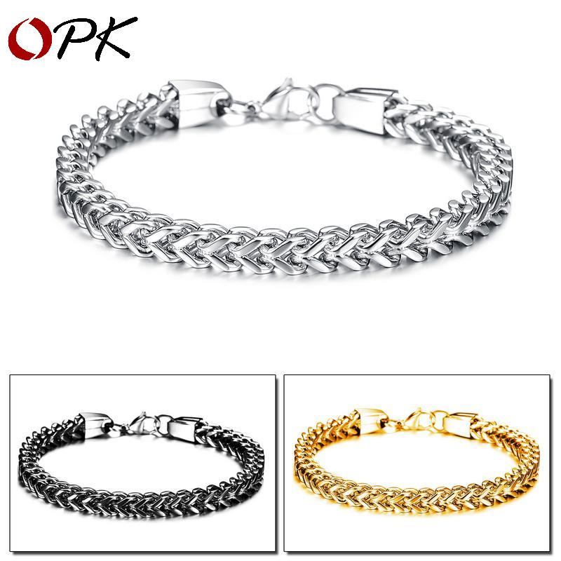 OPK men's simple fashion jewelry personality square fish scale men's titanium steel bracelet