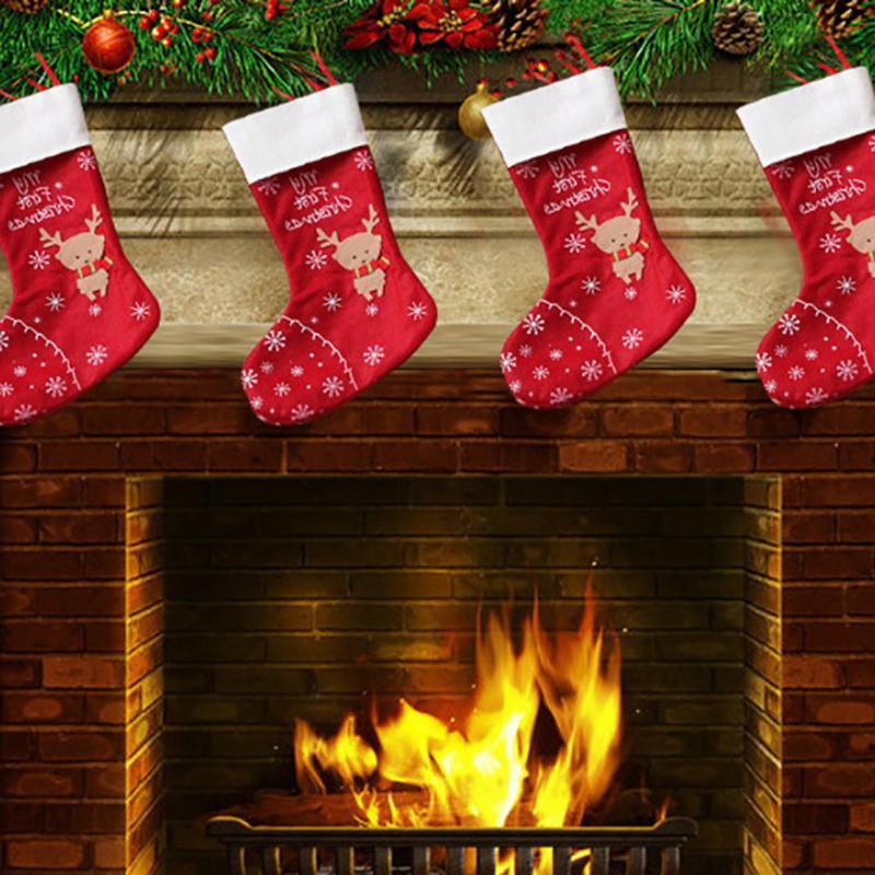 Рождественские чулки Большие подарки Ткань Санта-Elk носки Xmas прекрасный подарок сумка для детей Камин Дерево рождественские украшения горячей