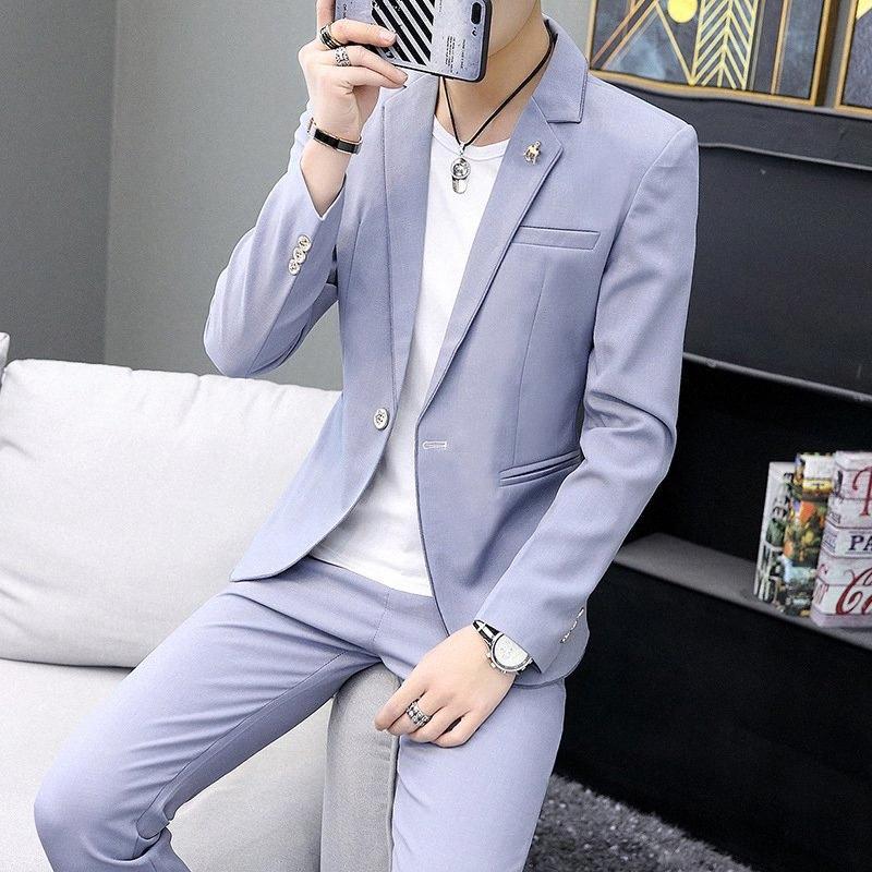 One Button 2 Piece Violet Slim Fit Hommes Costume formel Personnalisé Simple marié mariage Tuxedo Slim Fit Prom mariage Costume hommes avec un pantalon TFzx #