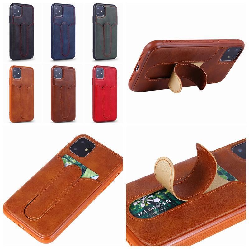 cgjxsHolder Cartão Id Couro slot Capa Para Iphone 11 Xr Xs Max X 8 7 6 macio TPU caixa de cartão carteira d Auto Stander luxo telefone tampa traseira L