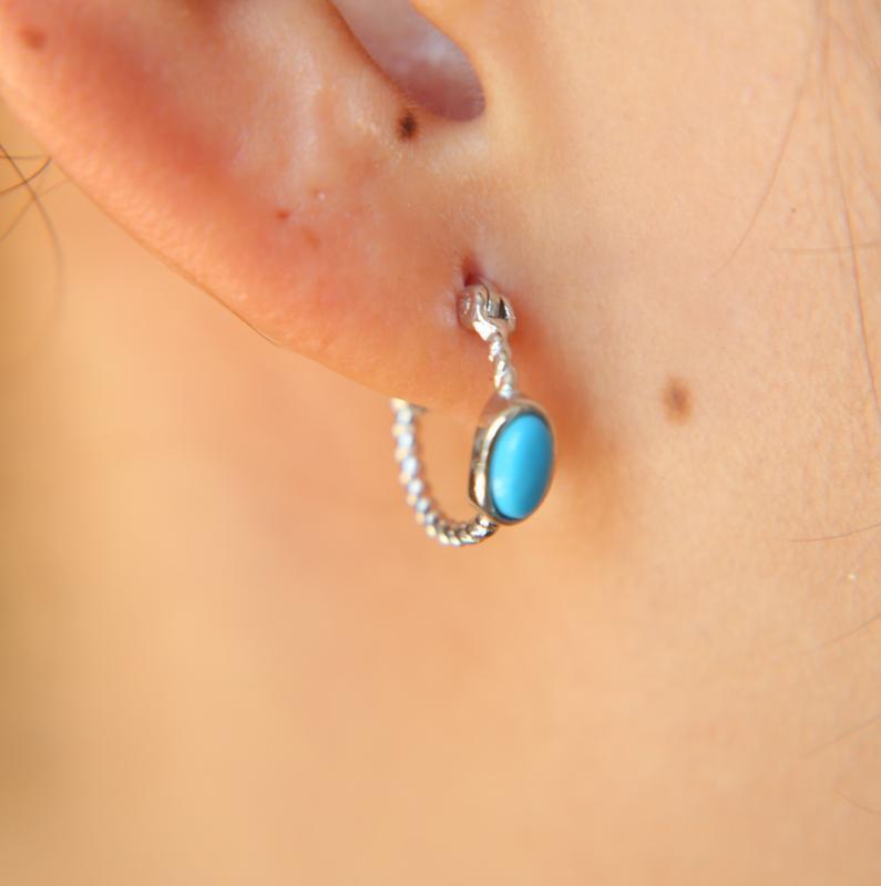 ovale pierre Mini cerceaux turquoises de Huggie 925 femmes de la mode en argent sterling mulit transpercé boucle d'oreille