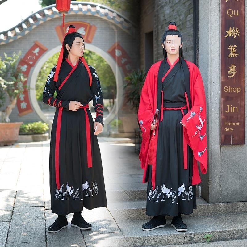 1nH1U DeZDM 5891 Hanfu delle donne ricamato cross-collare vestito vita abbigliamento marziale coppia Coppia Student grande vestito stile di arti di grandi dimensioni stu