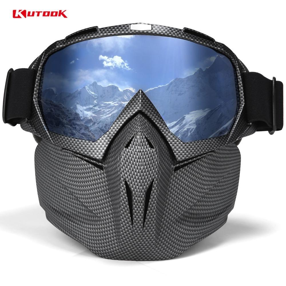 KUTOOK UV 400 Double lentille de surf des neiges Lunettes anti-buée Lunettes de ski avec étui neige Lunettes de ski coupe-vent Équipement de masque de ski