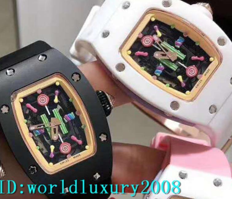 Swiss Tonneau RM07-01 White Ceramic Black Ceramic Carbon fiber Ladies Watch Rubber Strap Womens Watches New Model