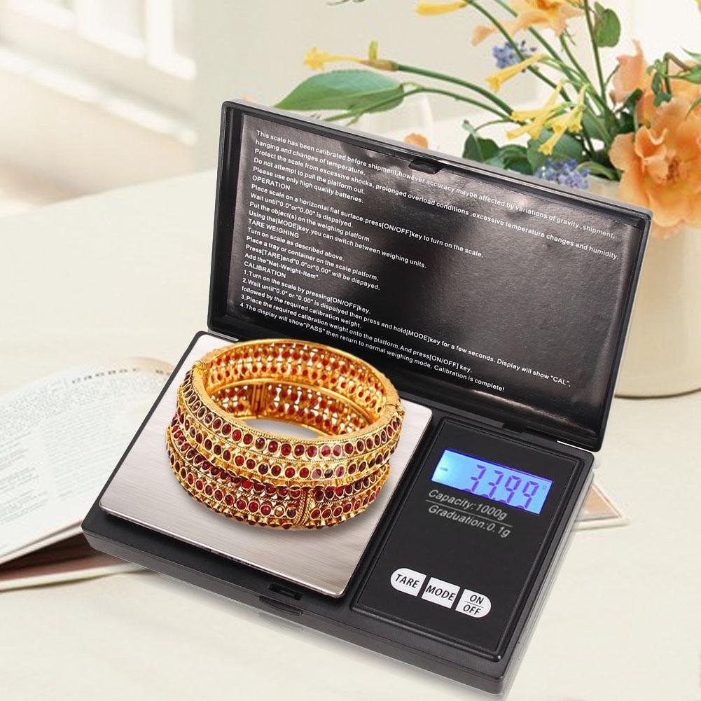 جودة عالية جيب ميني 100/200 / 300/500 جرام × 0.01 جرام 1000 جرام × 0.1 مقياس رقمي مقياس مجوهرات دقة عالية الدقة موازين المطبخ