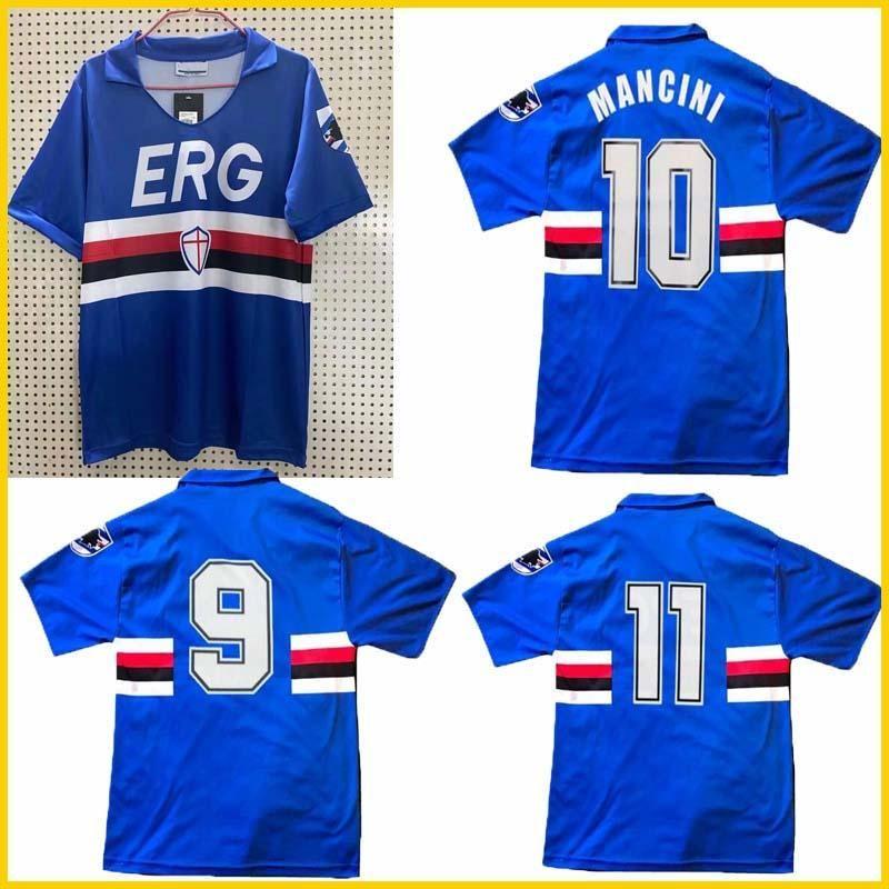 camisa de futebol clássico Mancini Vialli Cerezo Attilio Lombardo 1990 1992 Sampdoria retro camisa de futebol 90 91 UC Sampdoria vintage