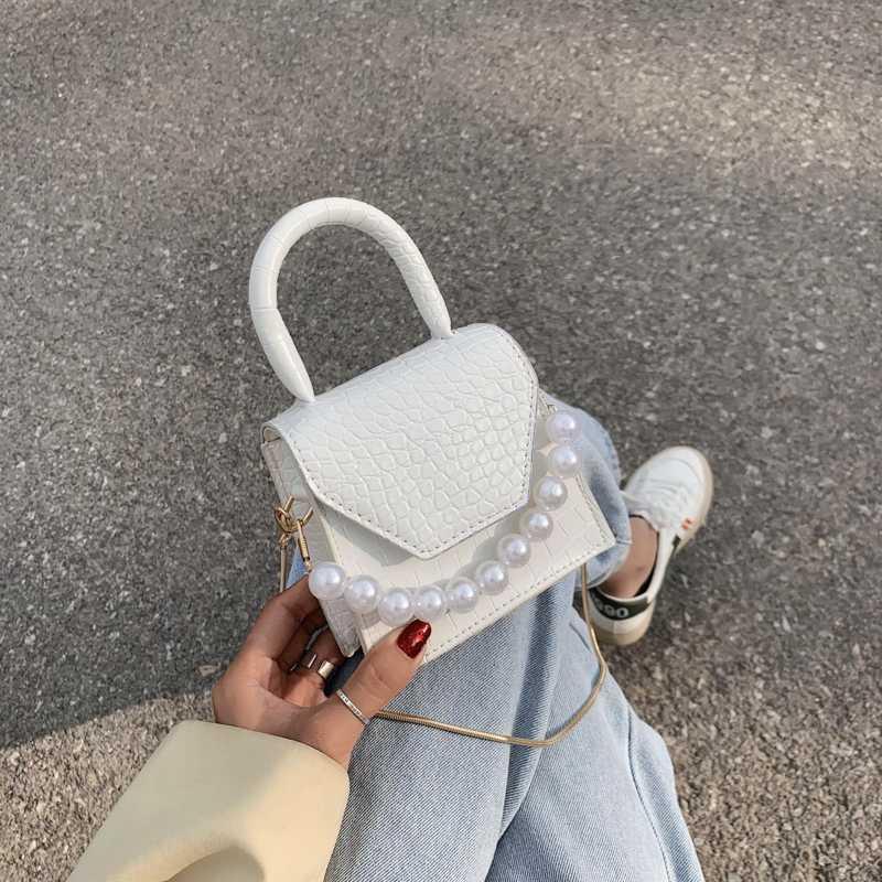 Pearl Maniglia Super mini disegno dell'unità di elaborazione borse a spalla in pelle per donne del modello 2020 di Crossbody Bag Borse Viaggi Stone