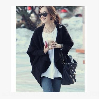 Damen Herbst 2020 neue Schal-Mantel-Kapwolljacke Nadel Wolle Wollschal europäischen Jingjing dicken Stock Mantel Fledermaus Ärmel Pullover DeUTQ