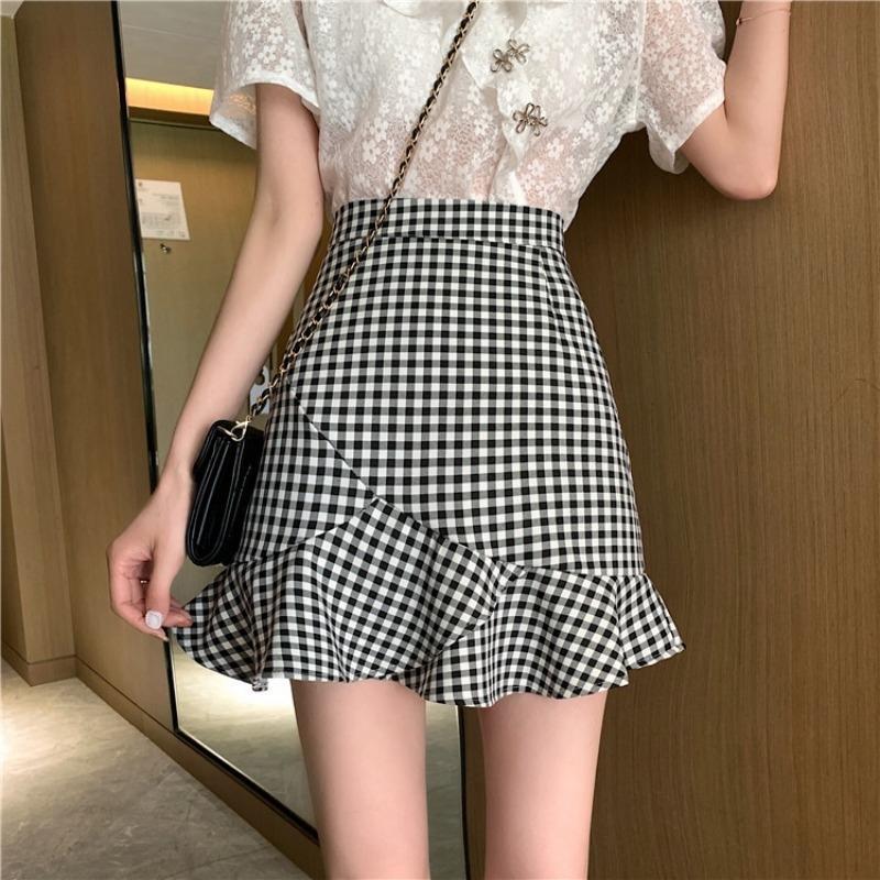 Ekk7j ~ New coreano apertado Fishtail estilo tight manta all-jogo saia fishtail emagrecimento babados bainha da saia