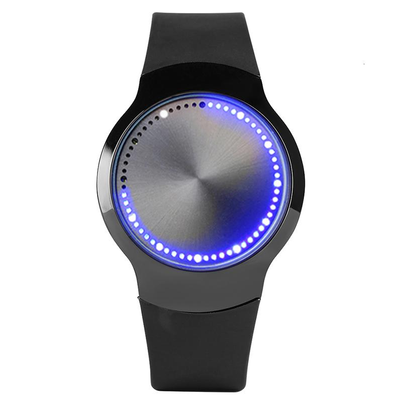 Schermo creativo degli uomini della vigilanza di tocco digitale donne LED blu Luce quarzo analogico della fascia del silicone Unqiue Orologio unisex regalo