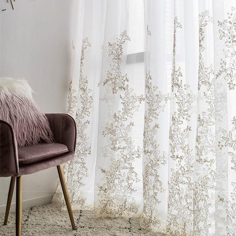 Hilado de lujo bordado 3D Pantallas princesa de tul cortinas para la sala ventana cortina de la decoración dormitorio romántico Sheer infantil