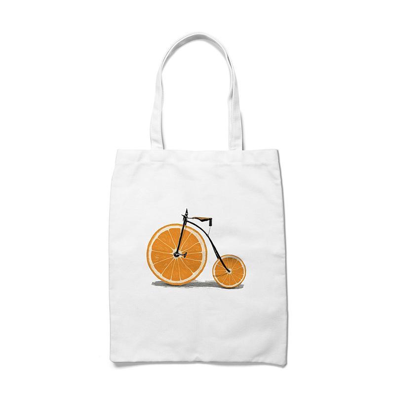لطيف فاكهة البرتقال الطباعة فتاة حقيبة قماش حقيبة تسوق سعة كبيرة حقائب كتف حمل عارضة للمرأة الطالبات